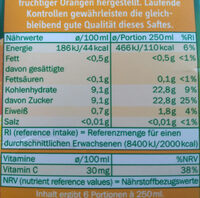 Orangensaft aus Orangensaftkonzentrat - Voedingswaarden - de