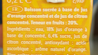 Boisson a l'orange - Ingredients - fr