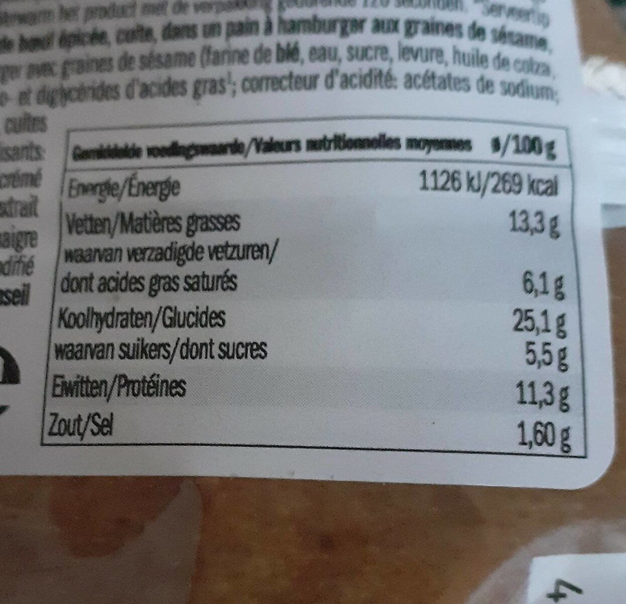 Hot dog - Voedingswaarden - fr