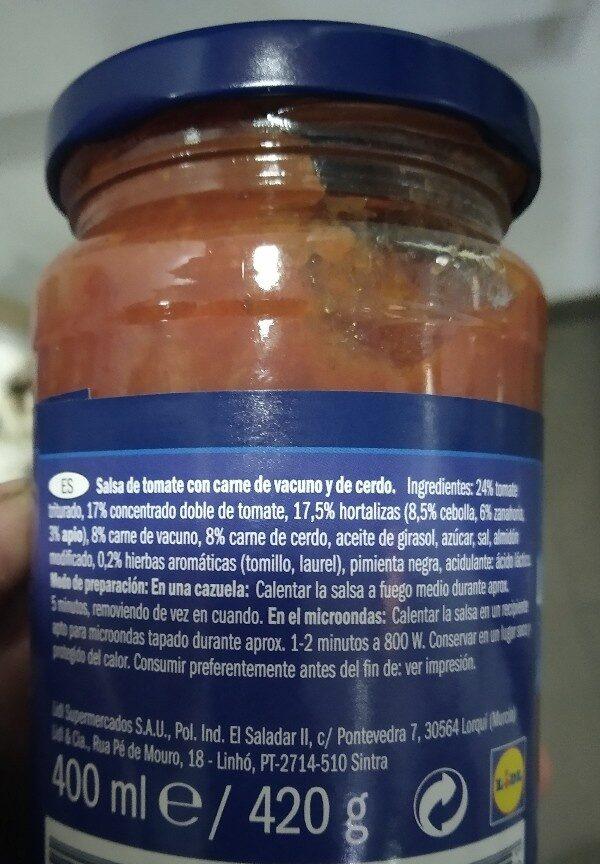 Salsa Boloñesa - Ingrédients - es