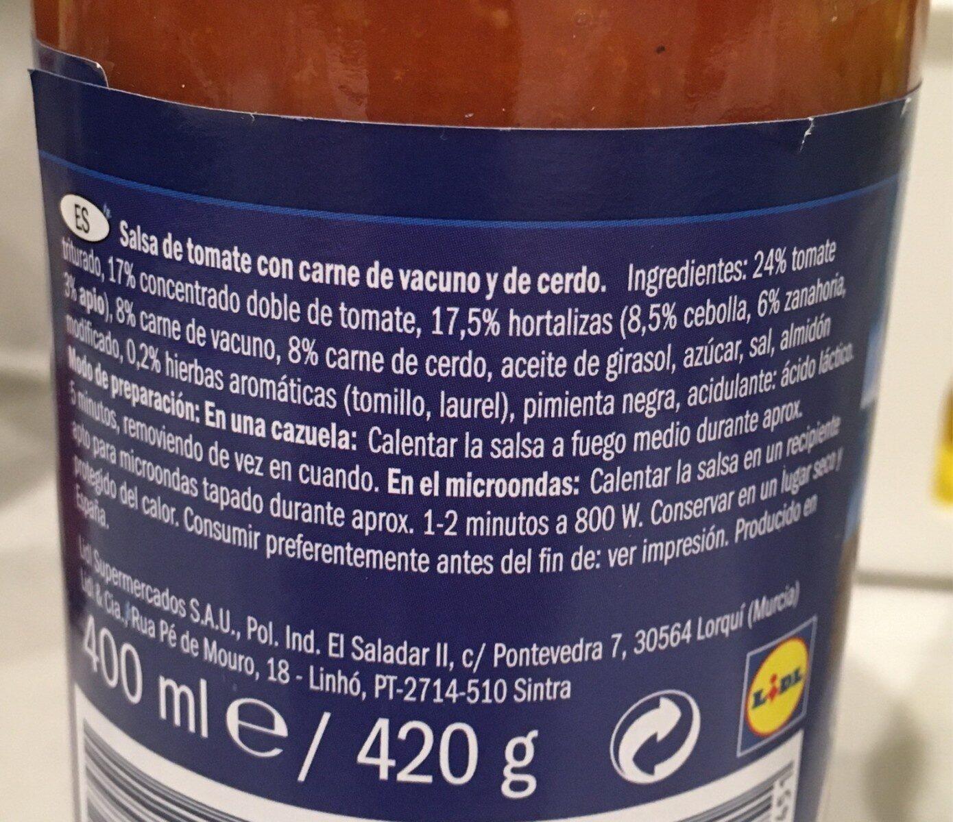 Salsa Boloñesa - Informations nutritionnelles - es