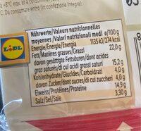 Préparation à base de fromage fondu - Informations nutritionnelles - fr