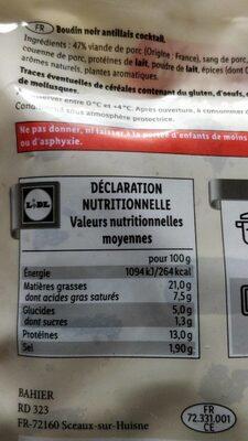 Mini Boudins - Informations nutritionnelles - fr