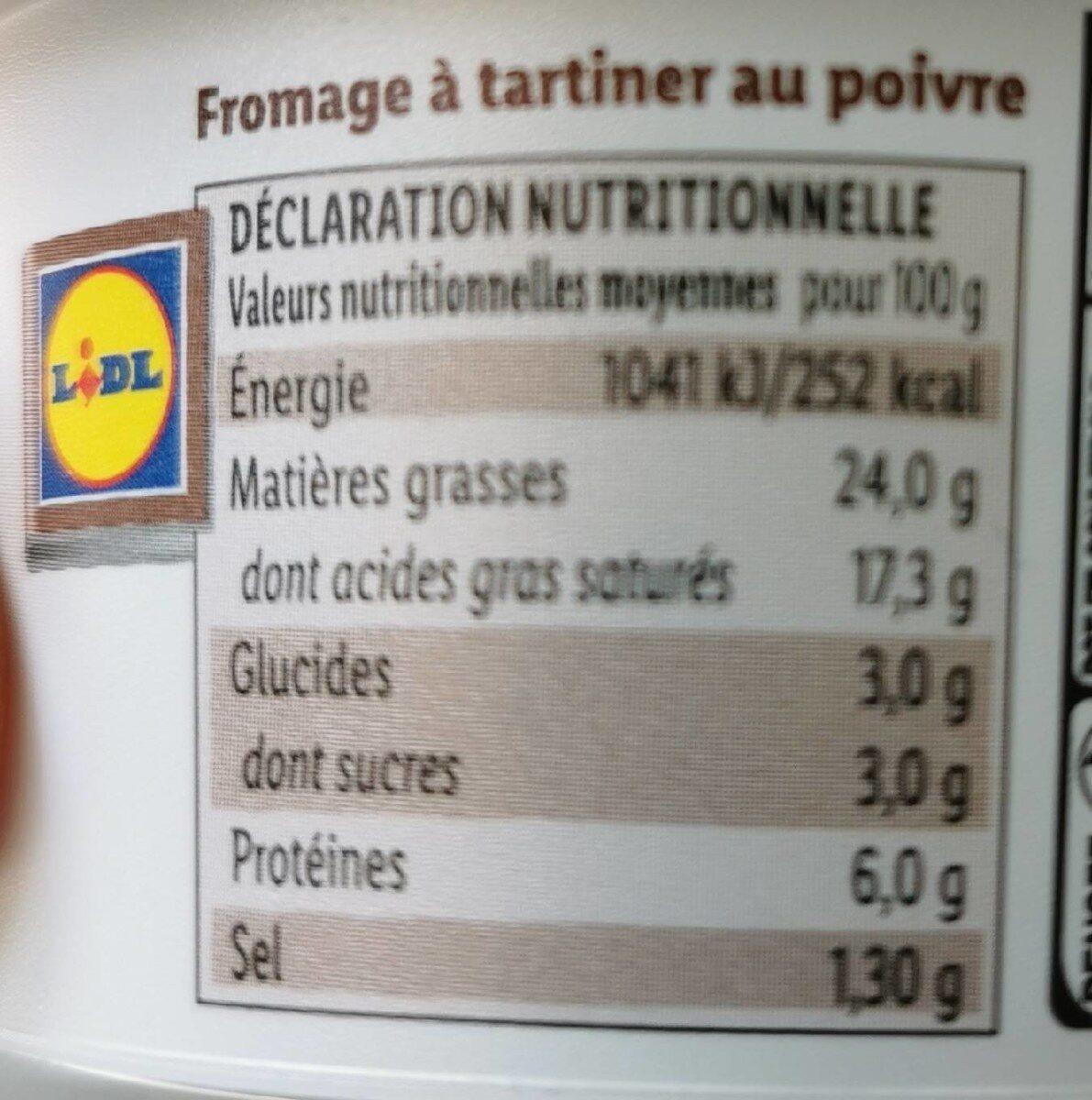 Fromage à tartiner au poivre - Informations nutritionnelles - fr