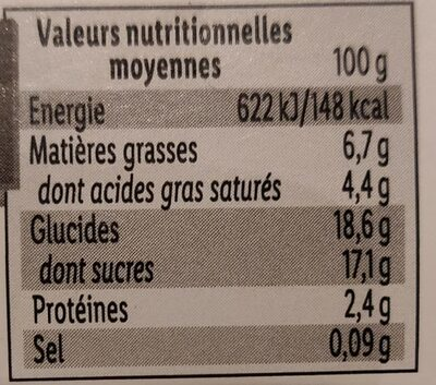 Yaourt sur lit de marron - Nutrition facts