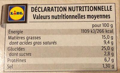 4 paniers feuilletés chevre - Nutrition facts