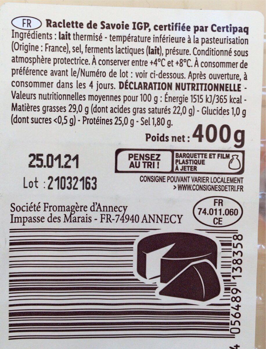 Raclette de Savoie - Nutrition facts - fr