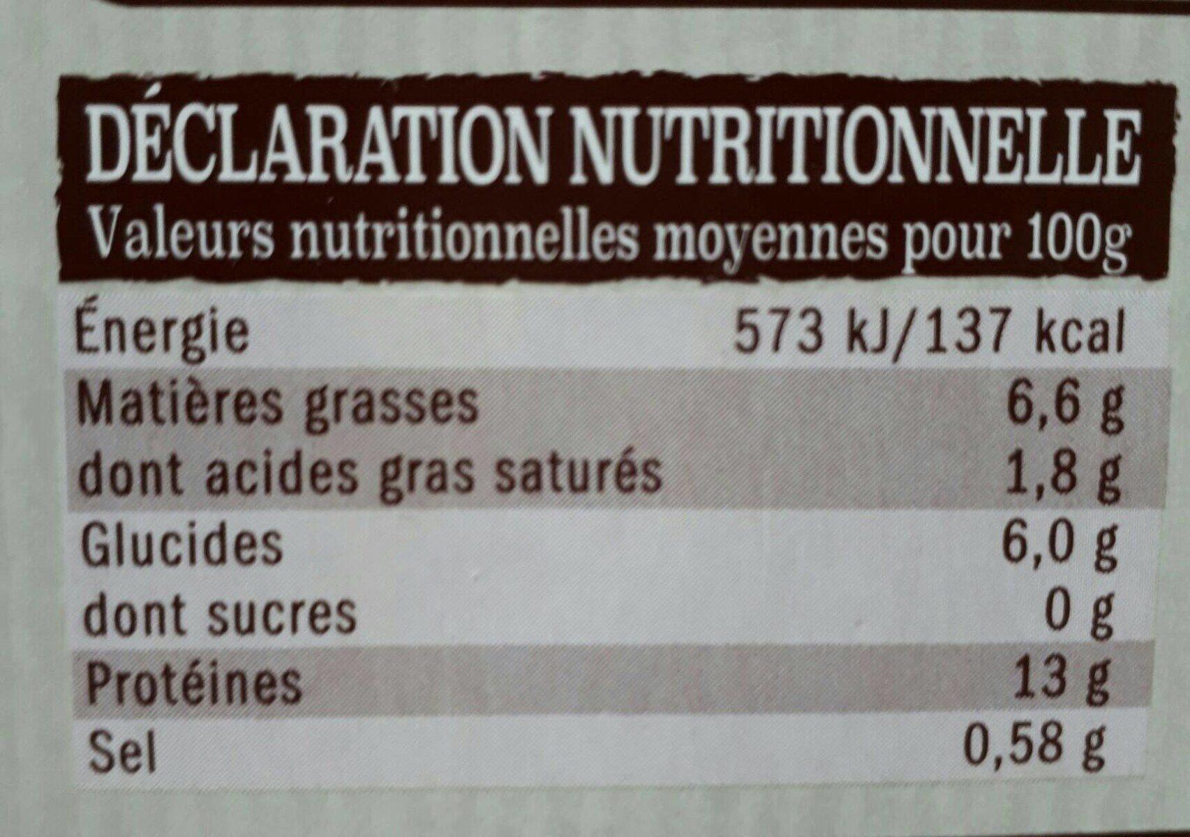 Le lunch du volailler. Poulet et patates - Nutrition facts - fr