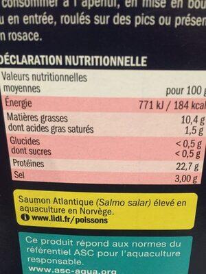 Émincés de saumon fumé 5 Baies - Informations nutritionnelles - fr