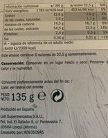 PIÑA CONFITADA BAÑADA EN CHOCOLATE NEGRO - Valori nutrizionali - it