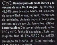 Hamburguesa black angus y cerdo iberico - Ingredients - es