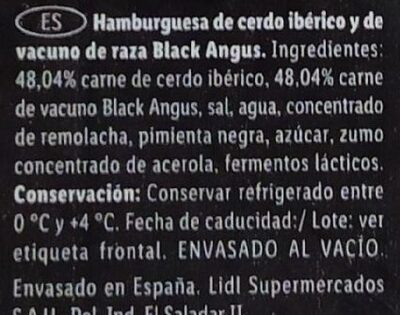 Hamburguesa black angus y cerdo iberico - Ingredients
