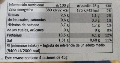 Piruletas de poton y langostinos - Nutrition facts