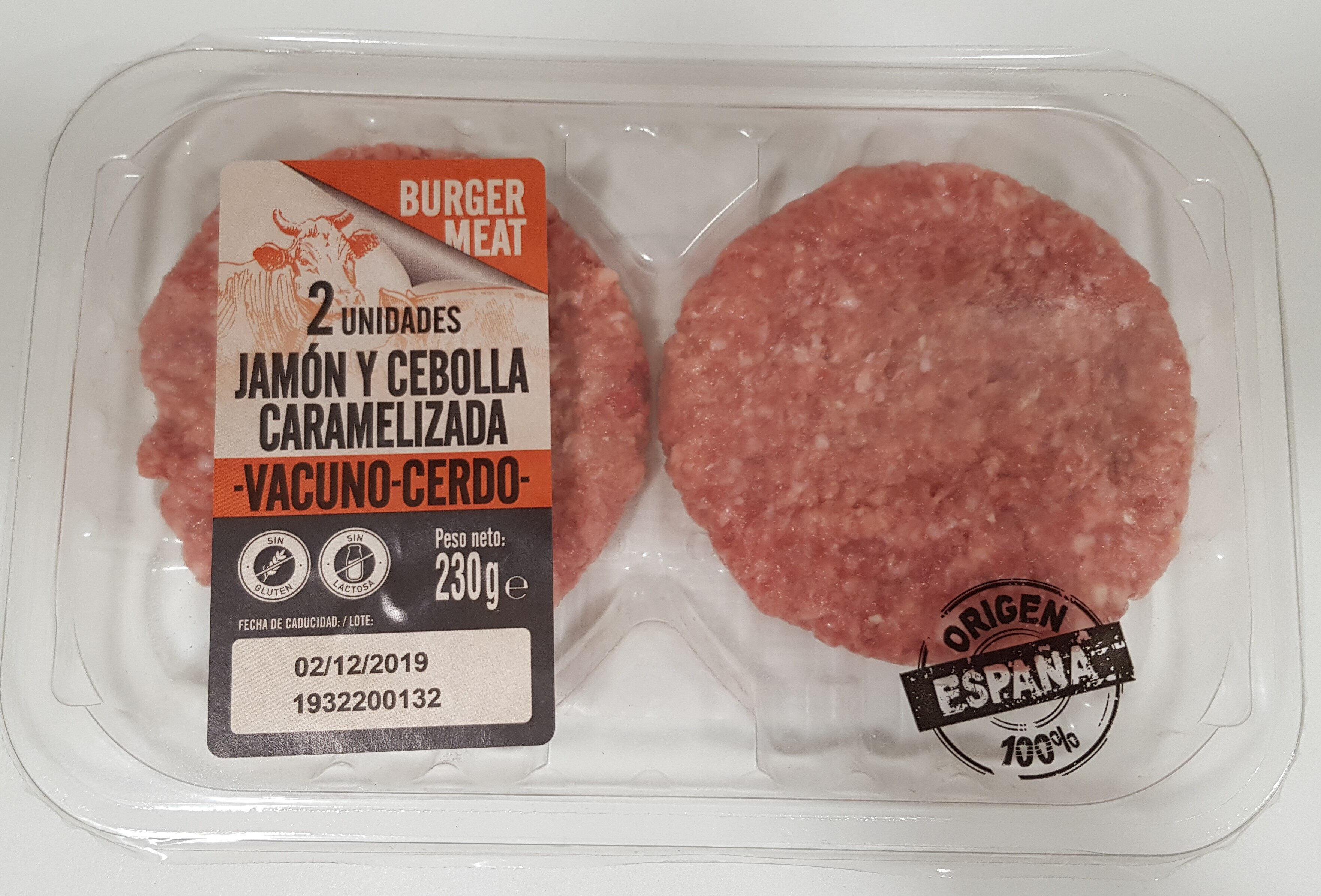 Hamburguesa jamón y cebolla caramelizada - Vacuno/Cerdo - Producto