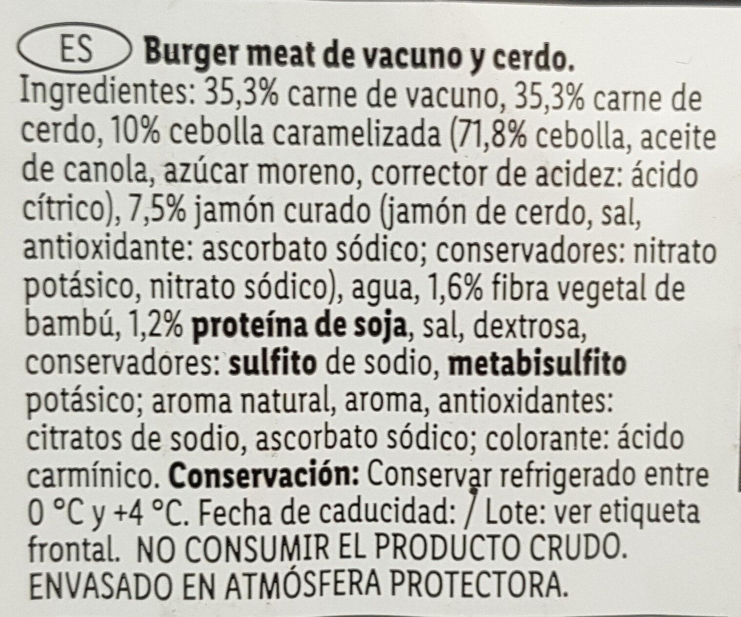 Hamburguesa jamón y cebolla caramelizada - Vacuno/Cerdo - Ingredientes