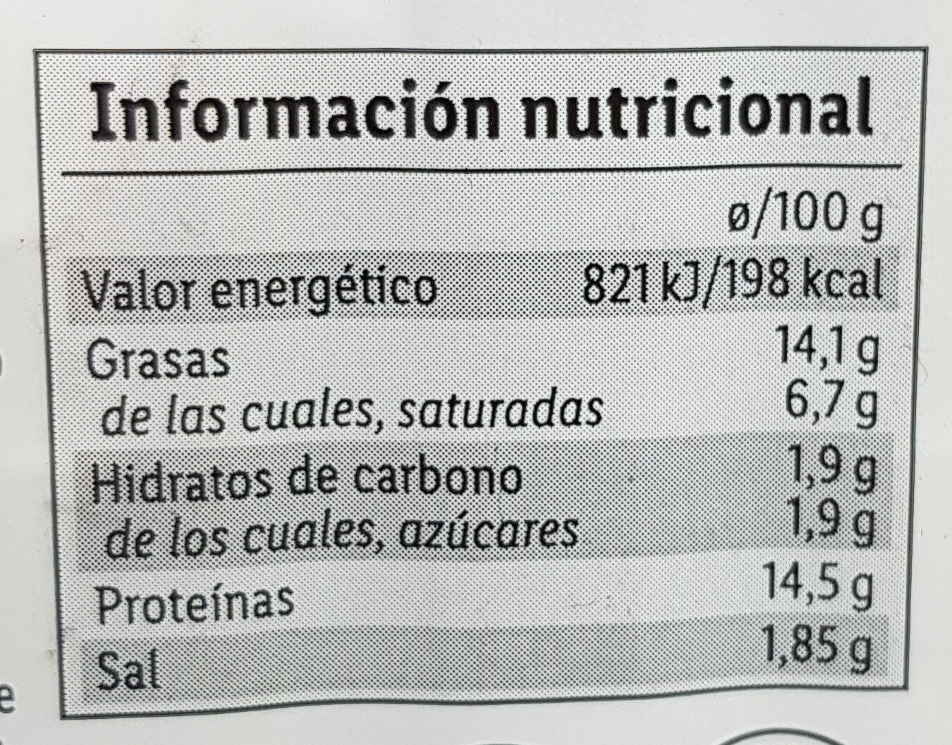 Hamburguesa jamón y cebolla caramelizada - Vacuno/Cerdo - Información nutricional