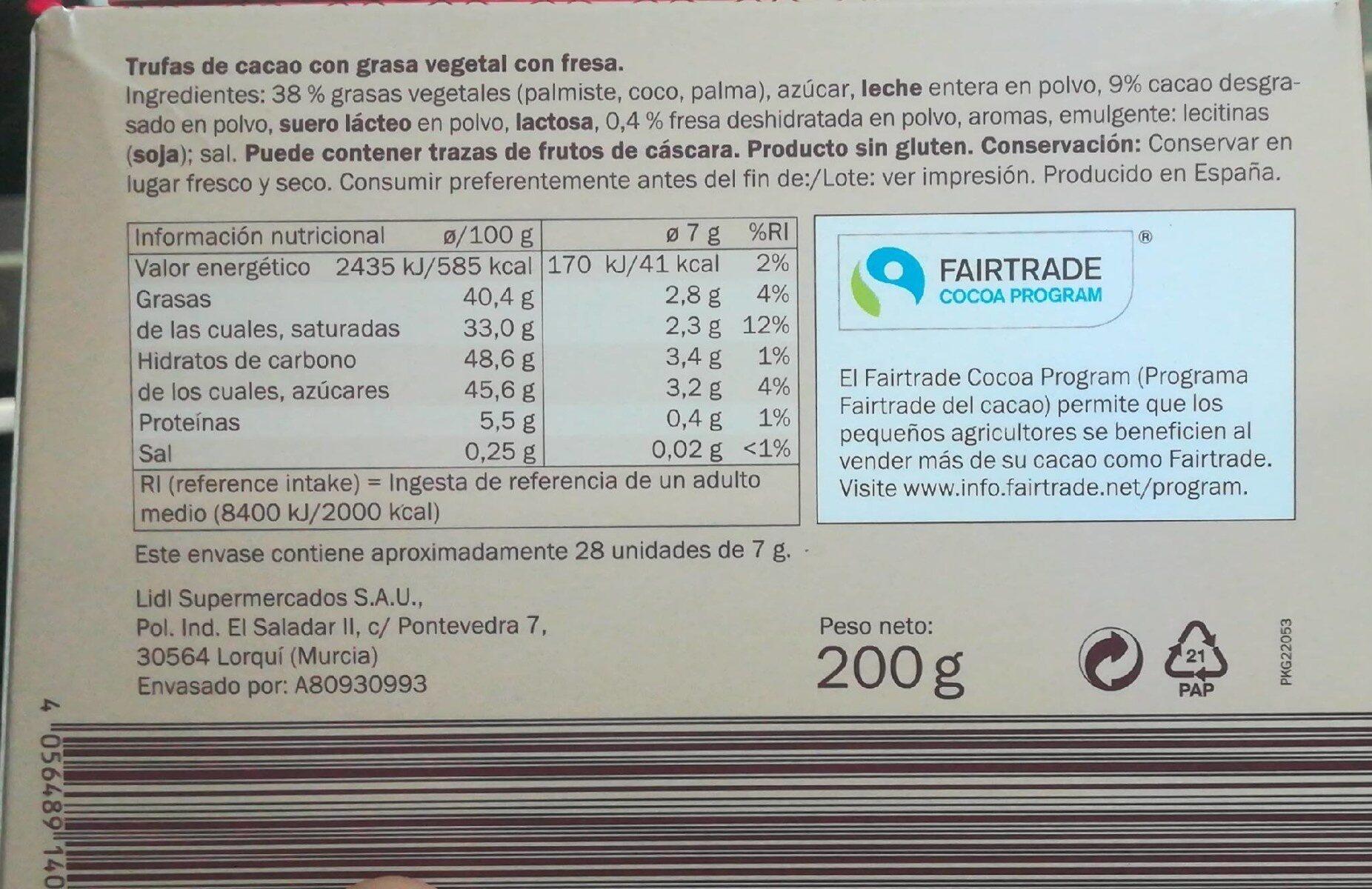 Trufas sabor fresa - Informations nutritionnelles