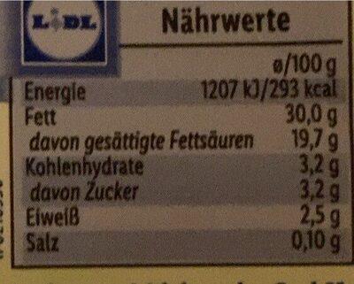 Schlagsahne - Nutrition facts - de