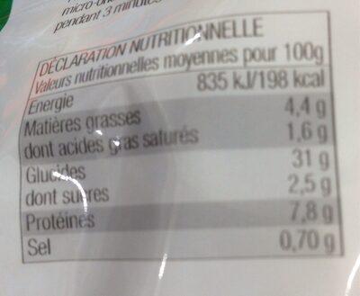 Tortelloni basilic et parmesan - Informations nutritionnelles