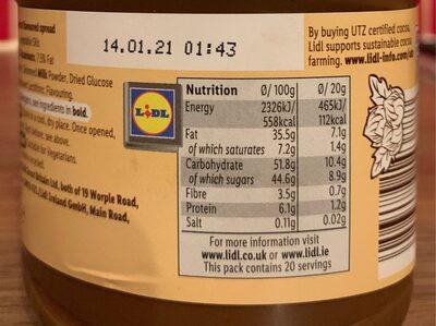 Choco nussa - Nutrition facts