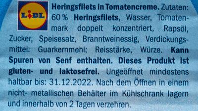Heringsfilets in Tomatencreme - Ingredients - de