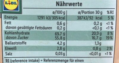 Sauerkirschen getrocknet - Informations nutritionnelles - en