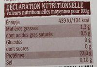 Aiguillettes de poulet - Informations nutritionnelles - fr