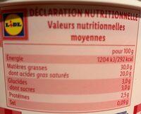 Crème fraîche entière 30% - Voedingswaarden - fr