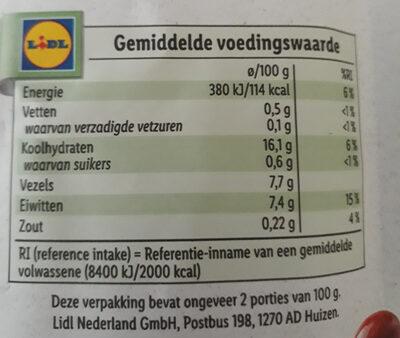 Rode & Bruine bonen - Nutrition facts - nl