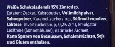 Weiße Crunch mit Zimt - Ingredients