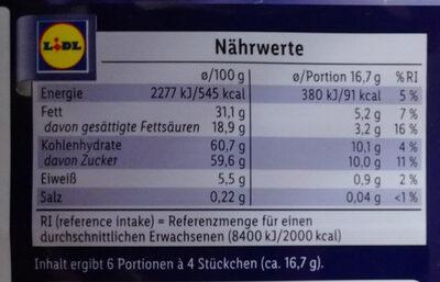 Weiße Crunch mit Zimt - Nutrition facts