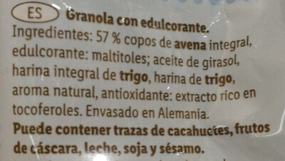 Granola - Ingredientes - es