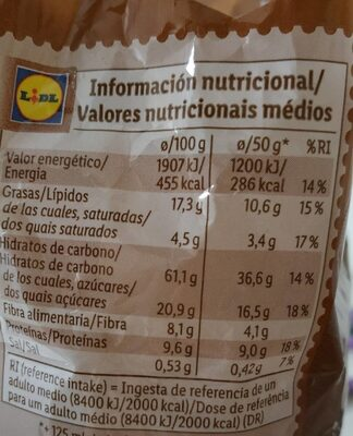 Granola chocolate - Informació nutricional - es