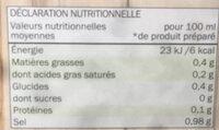 Bouillon de legumes - Valori nutrizionali - en