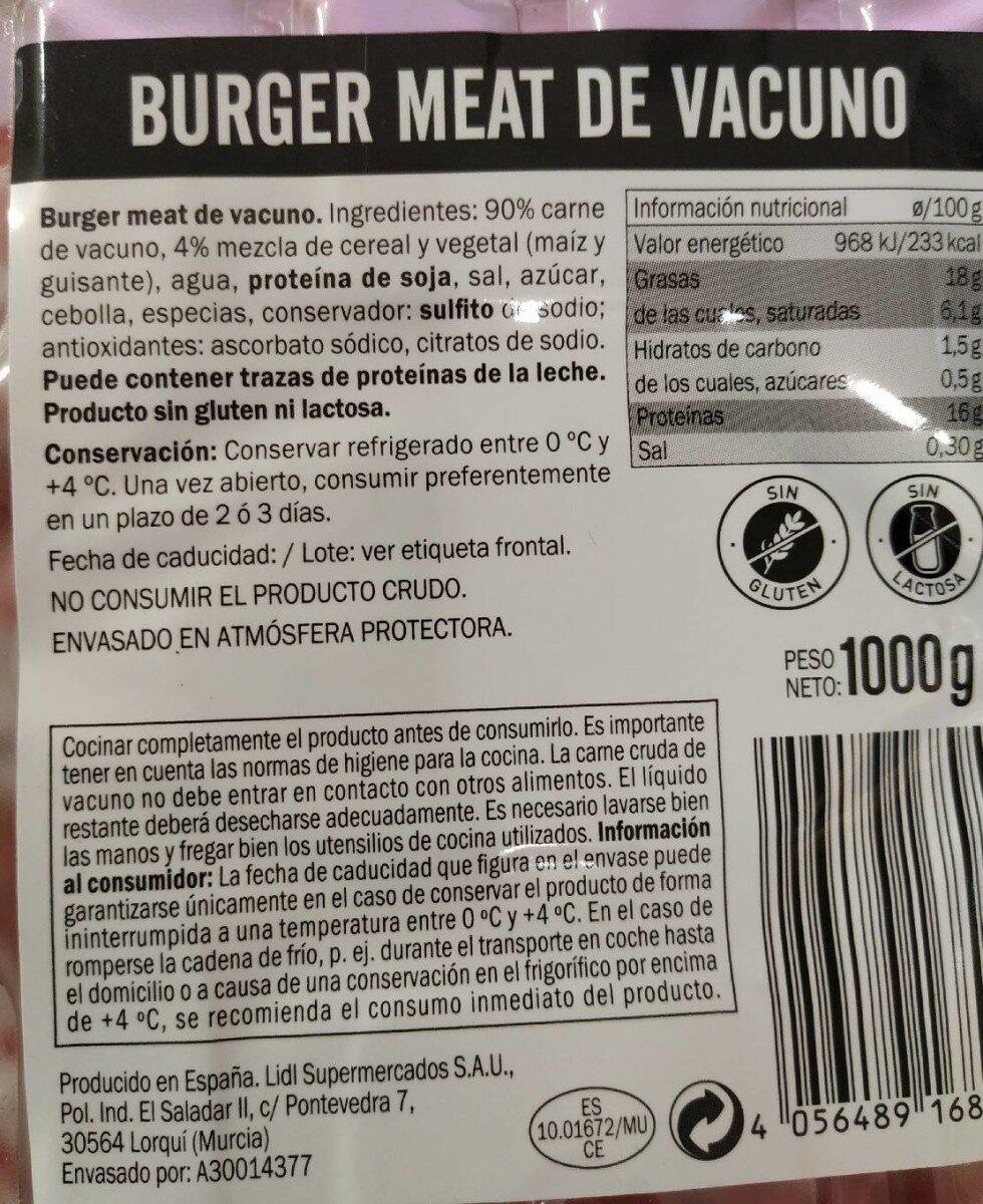 Carne picada vacuno - Informació nutricional - es