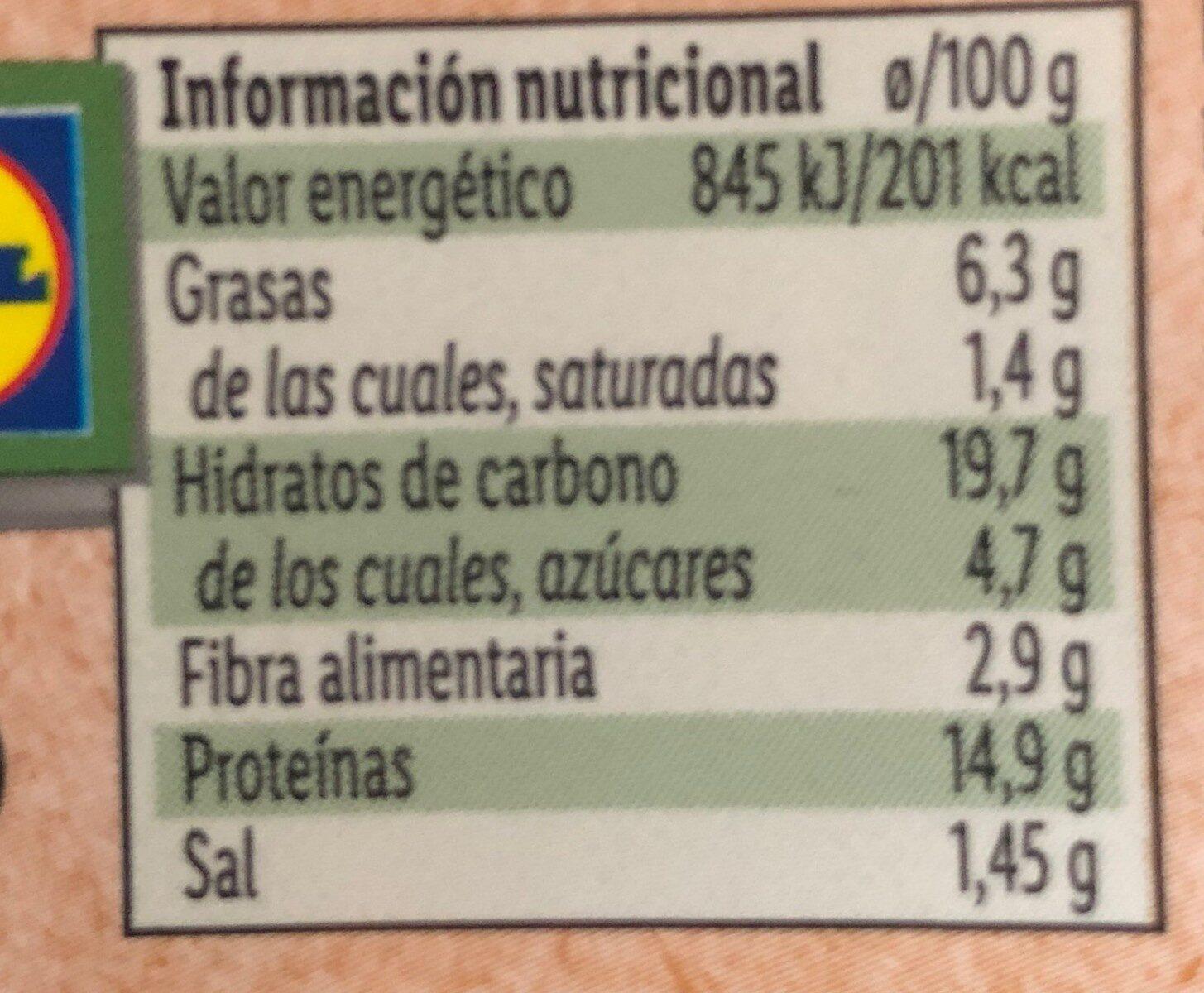 Veggieburger multi cereales - Voedingswaarden - es