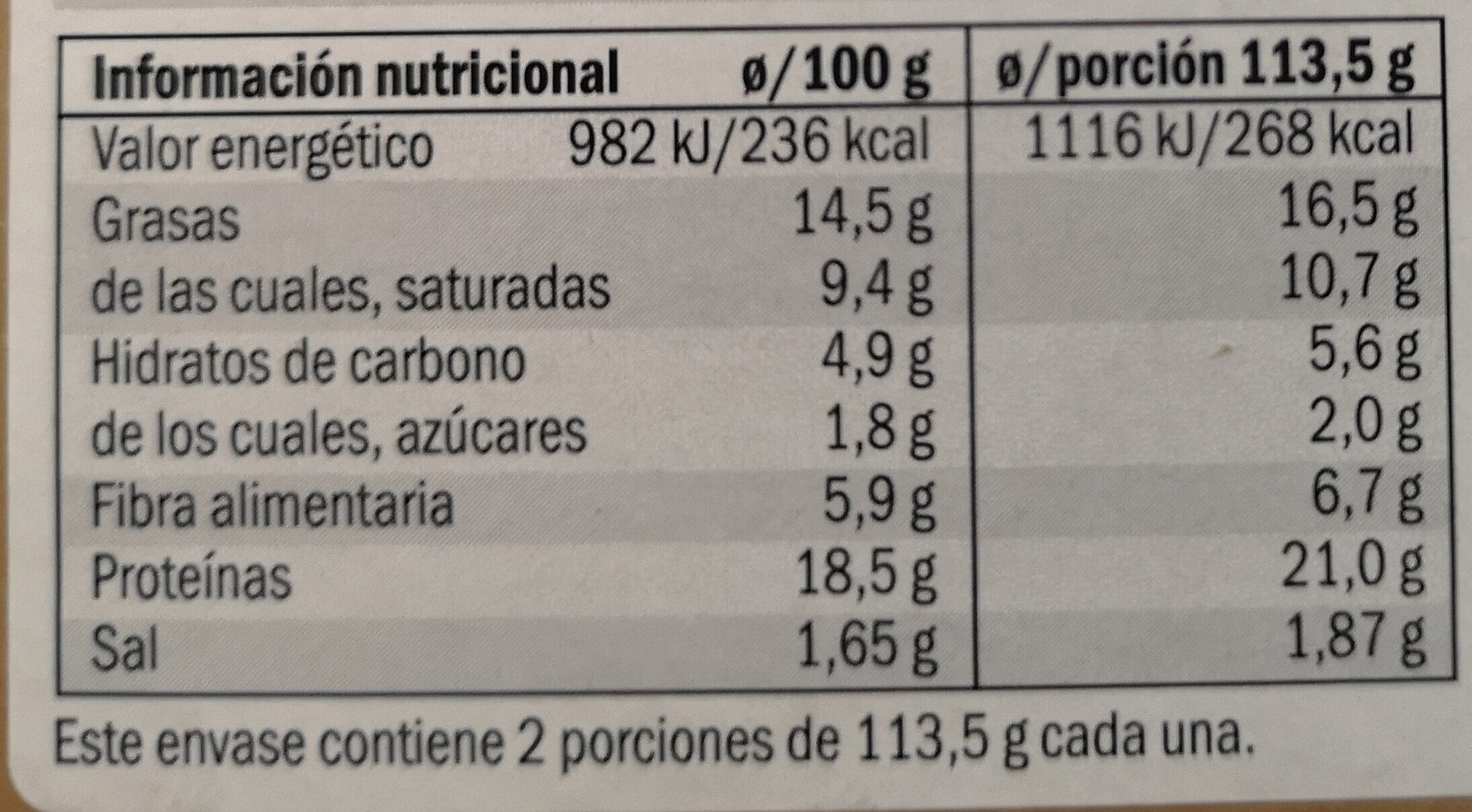 Next level burger - Valori nutrizionali - es