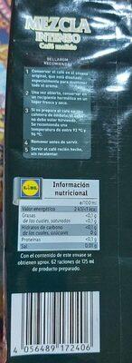 Mezcla Intenso - Informations nutritionnelles - es