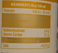 Bio Ingwer-Kurkuma-Shot - Nutrition facts - en