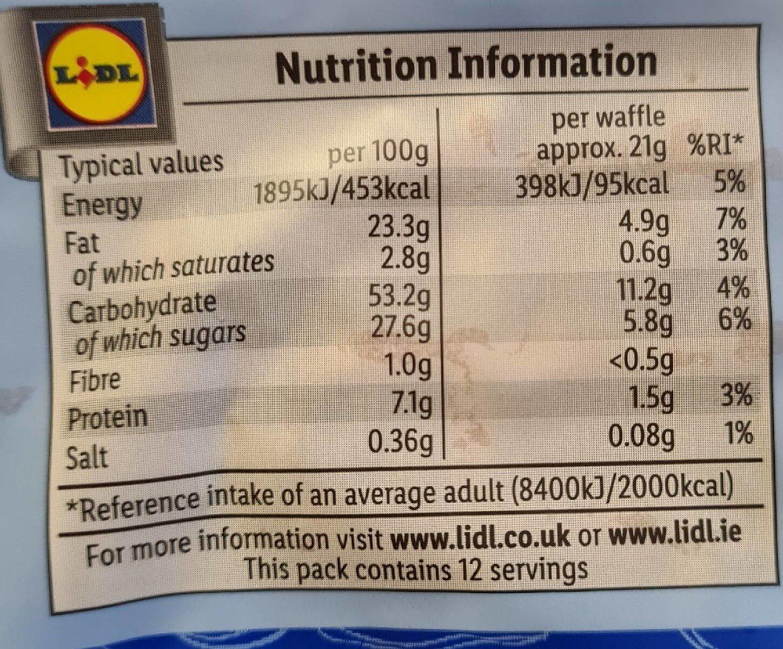 Waffles - Valori nutrizionali - en