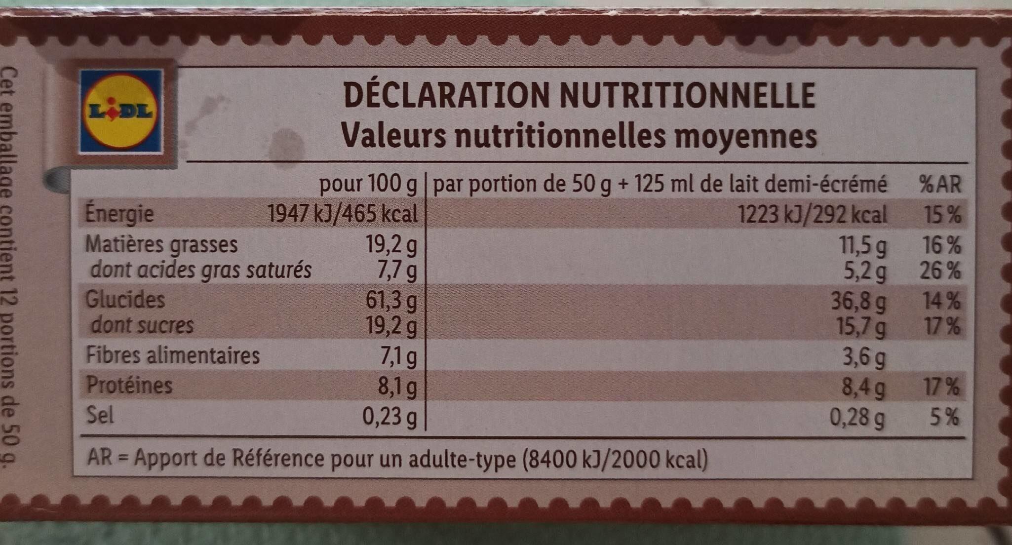 Muesli chocolat noir - Valori nutrizionali - fr
