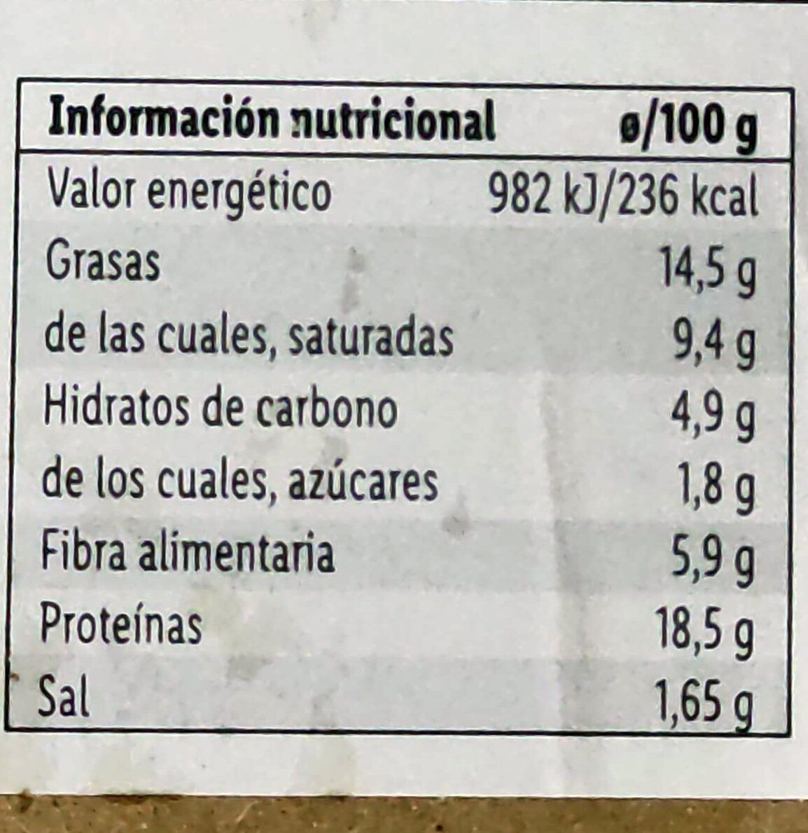 Picada vegana - Valori nutrizionali - es