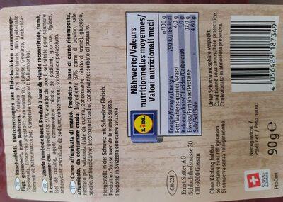 Viande fumée de boeuf - Valori nutrizionali - fr