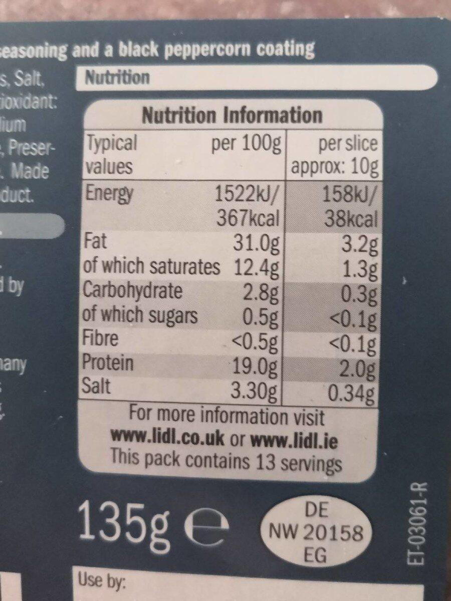 Peppered Salami - Nutrition facts - en