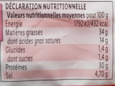 La fine sèche - Informations nutritionnelles - fr