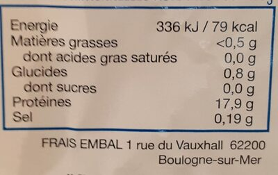 Cabillaud MSC - Informations nutritionnelles - fr