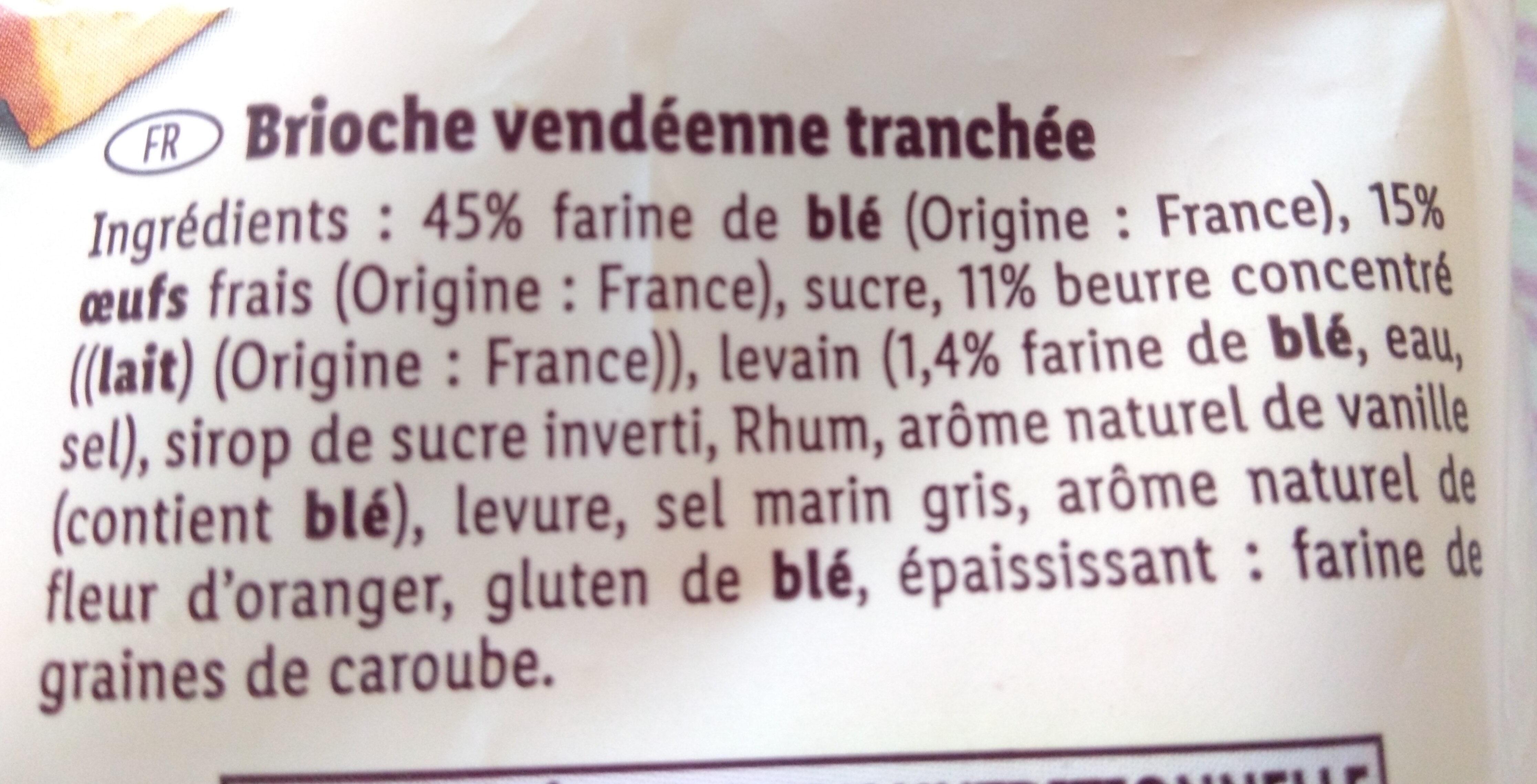 Brioche vendeenne tranchee - Ingredienti - fr