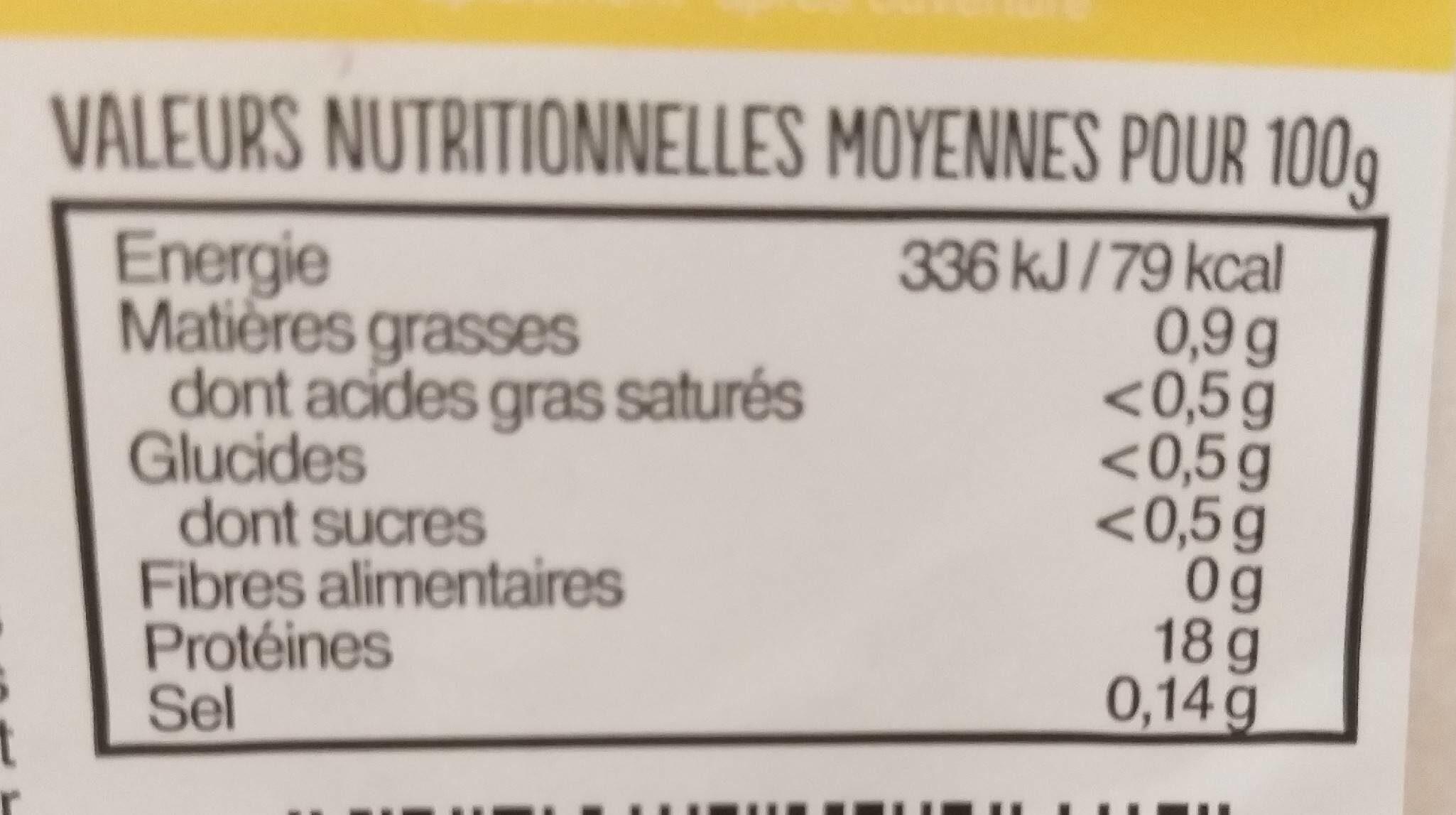 Filet de Limande - Informations nutritionnelles - fr