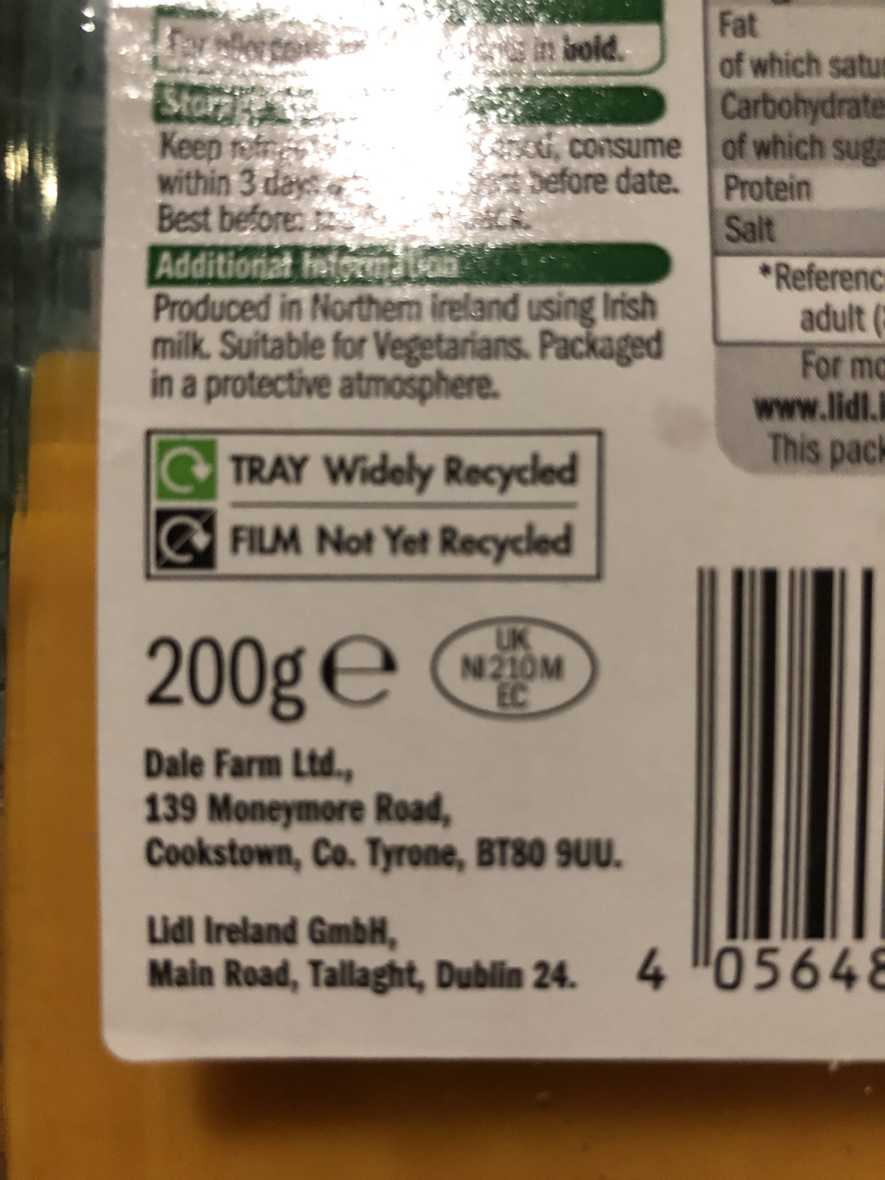 Irish Medium Red Cheddar - Recycling instructions and/or packaging information - en