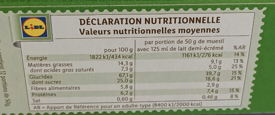 Muesli croustillant aux fruits - Valori nutrizionali - fr
